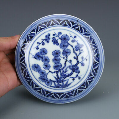 "4"" Chinese old Porcelain Xuande mark blue white pine bamboo Plum blossom box"