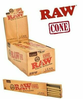 Raw Classic Lean Size Pre Rolled Cones - 20 Cones Per Pack - 1 Pack