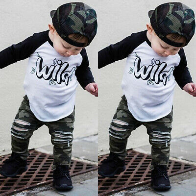 Toddler Kids Baby Boys Girls Outfits Clothes T-shirt Tops+Denim Pants 2PCS Set