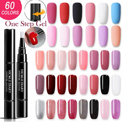 NICOLE DIARY One Step 3In1 Nail Art Brush Pen No Need Base Top Gel Polish Salon