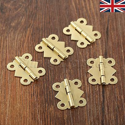 Brass Color Tiny Butterfly Hinges Cabinet Door Drawer Dollhouse Jewelry Box UK