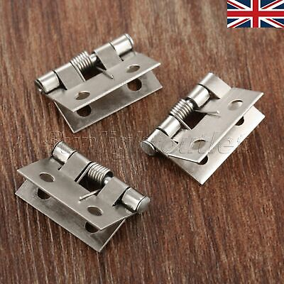 UK 10Pcs Silver Color Small Spring Hinges Cabinet Drawer Doll House Jewelry Box