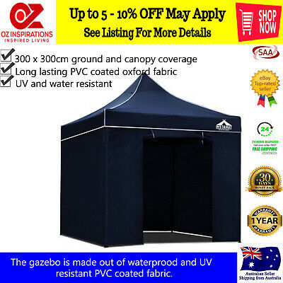Instahut 3X3M Outdoor Gazebo Folding Marquee Tent Canopy Pop Up Party Camping