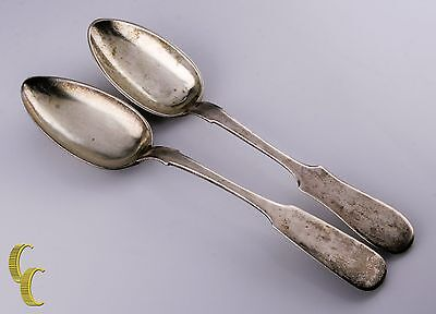 Antique Russian Silver Set of 2 Serving Spoons W/ Hallmarks 875 Fine