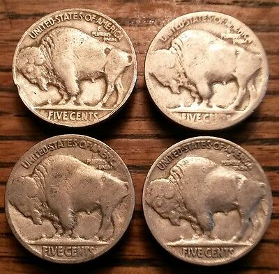 Vintage Buffalo Nickel Button Covers Old Authentic Indian Head 5 Cent *Lot of 4*