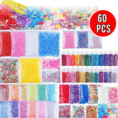60pcs Slime Supplies Slime Stuff Charm Schleim Kit Inklusive Fishbowl Beads Deko