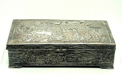 Antique Silver Plated Japanese Trinket Jewelry Box Engraved Traditional House