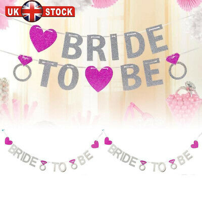 Bride To Be Ring Glitter Banner Bunting Hen Night Wedding Party Decor