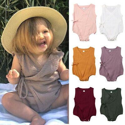 AU Newborn Infant Baby Girl Clothes Sleeveless Romper Cotton Linen Outfit Summer