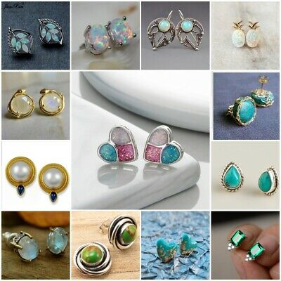 Fashion Jewelry 925 Silver Turquoise Emerald Women Cut Round Ear Studs Earrings