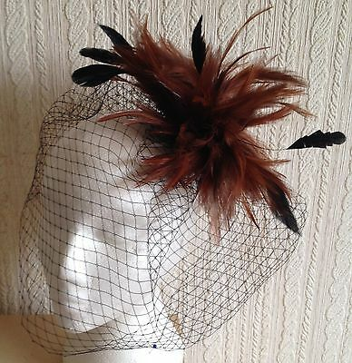 brown feather fascinator black french veiling veil hair clip brooch headpiece