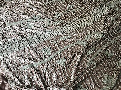 Antique Crochet On Silk Hand Stitched Quilt Bedspread With Matching Throw