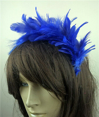 royal blue feather headband fascinator headpiece wedding party race ascot