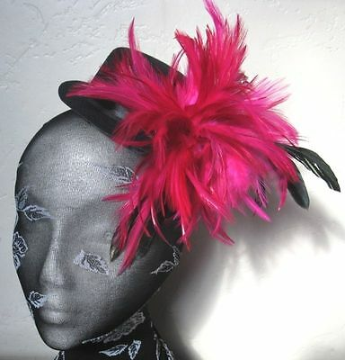 hot pink feather black mini top hat fascinator headpiece fancy dress hair clip