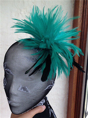 green black feather fascinator hair clip headpiece brooch wedding party