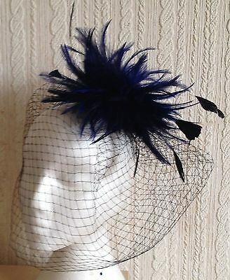 navy blue feather fascinator black french veiling veil hair clip brooch
