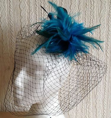 turquoise feather fascinator black french veiling veil hair clip brooch