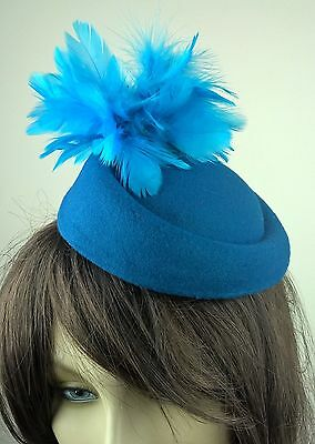 turquoise feather flower fascinator pill box hat hair clip headpiece wedding