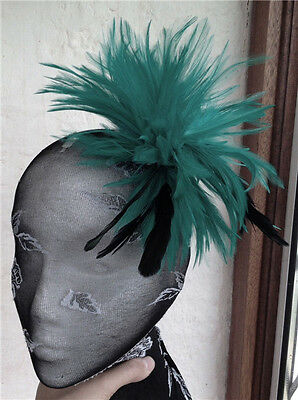 dark green black feather fascinator hair clip headpiece brooch wedding party