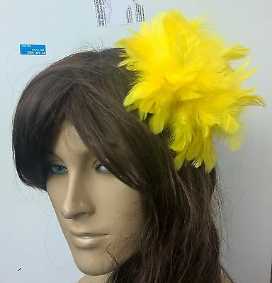 yellow feather fascinator hair clip headpiece wedding party fancy dress