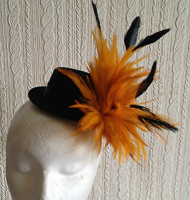 orange feather black mini top hat fascinator headpiece fancy dress hair clip