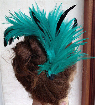 green black feather fascinator comb hair clip headpiece wedding party piece