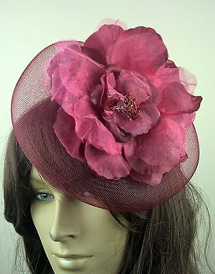 dark red satin flower crin fascinator hair clip headpiece wedding party piece