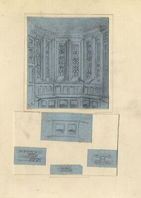 Thomas J. Marple, Gothic Window Decorations - Late 19th-century graphite drawing
