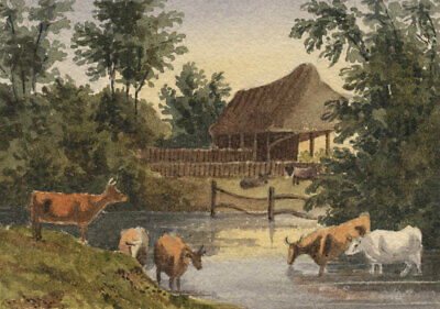 William JamesMüller, Cows in Miniature - Mid-19th-century watercolour painting