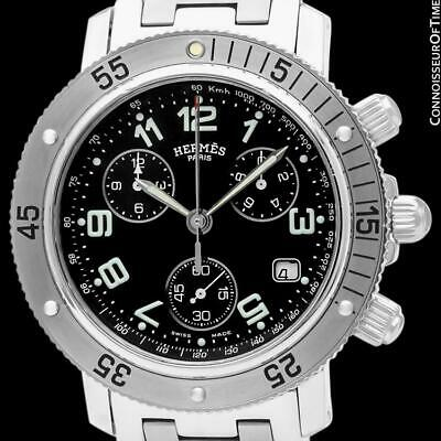Hermes Mens Clipper Large Stainless Steel Divers Chronograph - Mint w/ Warranty