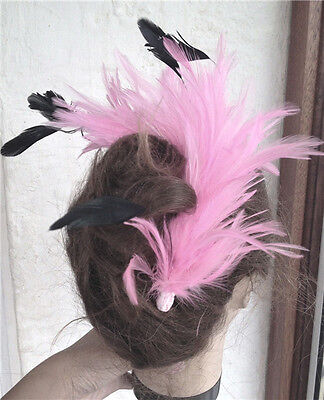light pink black feather fascinator comb hair clip headpiece wedding party piece