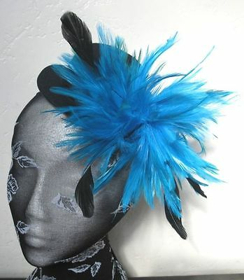 turquoise feather black mini top hat fascinator headpiece fancy dress hair clip