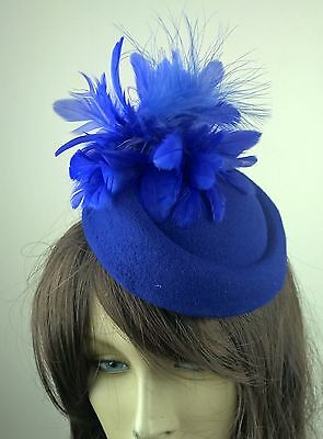 royal blue feather flower fascinator pill box hat hair clip headpiece wedding