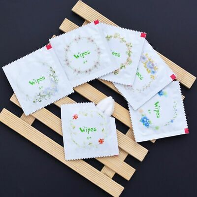 10x Cartoon Floral Print Condom Shape Wet Wipes Tissue Travel Hand Face Cleaning