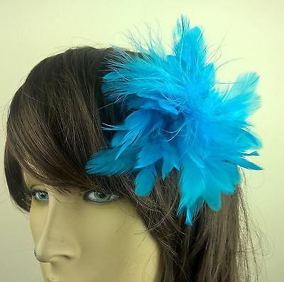 turquoise blue feather fascinator hair clip headpiece wedding party fancy dress