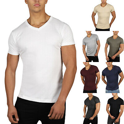 New Mens Slim Fit T Shirt Muscle Top Gym V Neck Short Sleeve Plain 100% Cotton