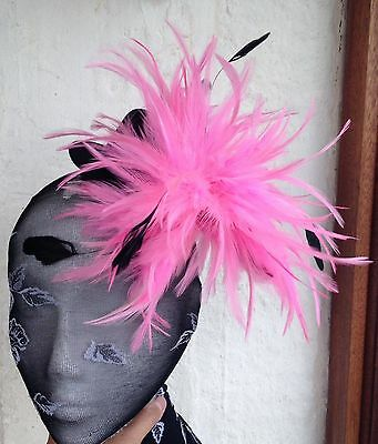 pink feather black mini top hat fascinator headpiece fancy dress hair clip