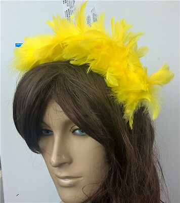 yellow feather headband fascinator headpiece wedding party race ascot