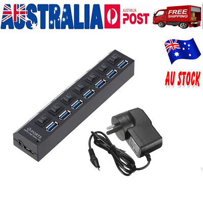7 Port USB 3.0 HUB Powered on/off Switch AC Adapter High Speed Splitter Extender