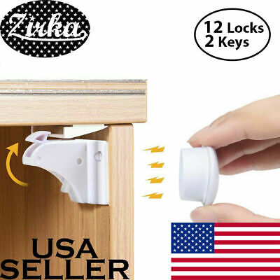 New Magnet Child Locks 12 Locks 2 Keys Cabinet Baby Safety Invisible Kids Proof