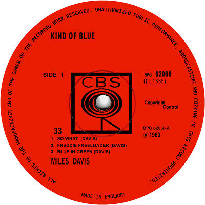 Miles Davis. Repro record label stickers. Kind Of Blue. Bitches Brew. Jazz. CBS