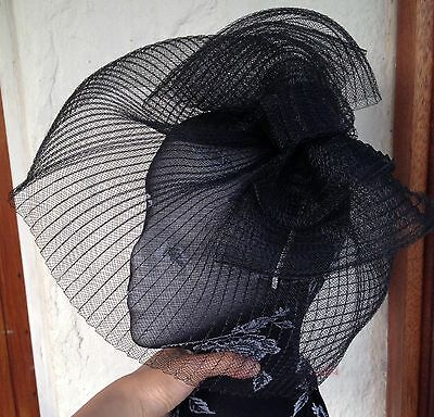 black crin fascinator headband headpiece wedding party piece race ascot funeral