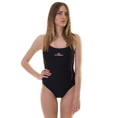 Costume Da Bagno Aquarapid Donna Ayana C Black Intero Nero Piscina Mare Swimsuit