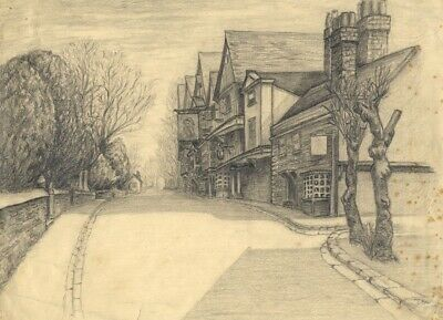 Ye Olde King's Head, Chigwell, Essex - Early 20th-century graphite drawing