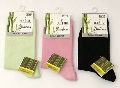 3 Pairs Women's Ladies Plain Bamboo Super Soft Anti Bacterial Exclusive  Socks