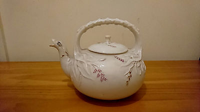 Very Rare Antique Victorian Belleek Tea Pot First Black Mark Irish Teapot