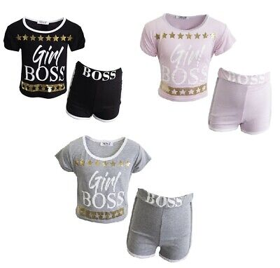 NEW Girl Boss Summer Outfit Active Shorts Top Set Black Grey Gold Pink Age 5-13