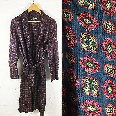 Vintage Men's St Michael Silky Patterned Dressing Gown Robe / Smoking Jacket