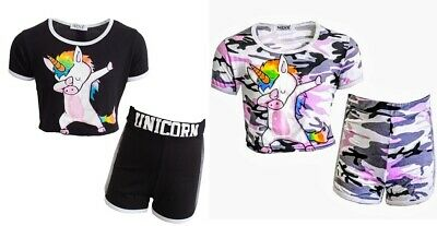 NEW Girls Kids Unicorn Shorts & Top Set Outfit Summer Black Pink Camo Age 5-13
