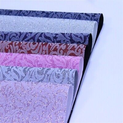 A4 Flower Glitter Synthetic Faux Leather Fabric Flocking DIY Crafts Elastic